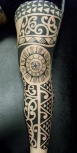 Polynesian Tribal Calf Tattoos