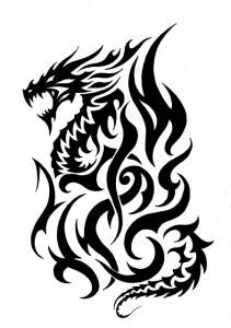 Tribal Fire Dragon Tattoo