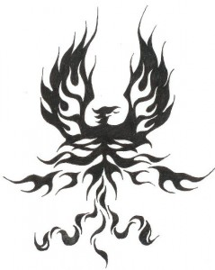 Tribal Fire Phoenix Tattoo