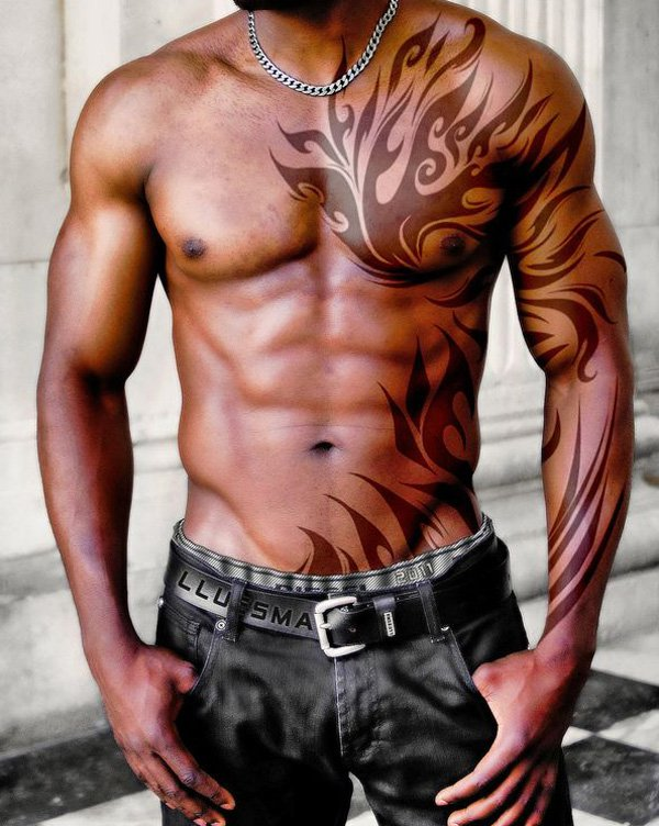 23 wonderful tribal fire and flame tattoo only tribal for Tattoo sleeve for dark skin