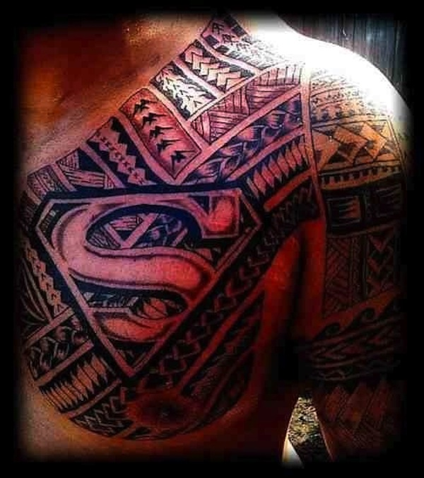 10 stunning superman tribal tattoos only tribal. Black Bedroom Furniture Sets. Home Design Ideas