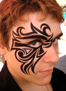 Tribal Tattoo Around Eye